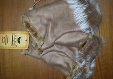 Winter Fingerless Leather Gloves Hand Wrist W/Rabbit Fur- Camel NWT Free Ship