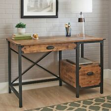 Rustic Country Style Desk Computer Furniture Industrial Weathered Pine Finish