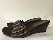 Nine & Company  Brown wedge heels Open Toe Slides 6.5 M