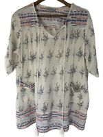 Women's Size Large L Boho Tunic Top Blouse Embroidered Short Sleeve Hippie