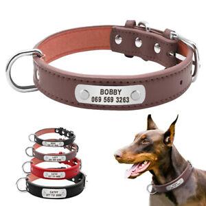 Personalised Dog Collar Leather Pet Name ID Free Engraved Schnauzer Bulldog S-XL