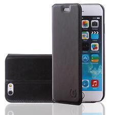 Echt Leder Handy Tasche Schutz Hülle Samsung Galaxy Note 4 Schwarz Flip Cover