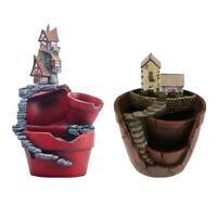 2x Fioriera In Resina Succulente Pianta Vaso Fiore Piantatore Decor Giardino