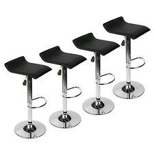 Modern Set of 4 Bar Stools PU Leather Adjustable Swivel Counter Pub Chair Black