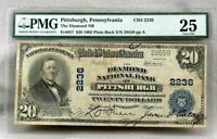1902 $20 Diamond National Bank Of Pittsburgh Note! Charter2236!  PMG VF25! RARE!