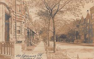 Vintage RPPC Deming Pl E & Clark St Chicago IL Street House Photo Postcard 1909