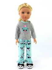 "Winter Panda Pajamas Pant Set Fits Wellie Wisher 14.5"" American Girl Clothes"