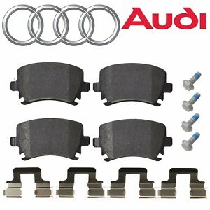 For Audi A8 Quattro RS6 S4 S8 Rear Back Brake Pad Set w/ Clips & Bolts Genuine
