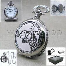 SILVER Antique COWBOY Design Cover Men Quartz Pocket Watch Fob Chain Box P217