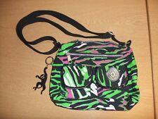 "Ladies Handbag Kipling Verde/Nero in Tessuto Stampa Animale, Cinturino 11x8x3"" + 3443"