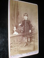 Cdv old photograph girl with seated doll by Shakespeare at Chelsea c1880s