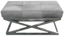 Indian Handmade Designer Gray Hairy Leather With Stainless Steel Base Bench