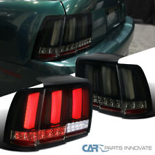 Fit 99-04 Mustang Shiny Black Smoke LED Sequential Turn Signal Tail Brake Lamps