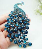 Crystal Pendant Peacock Bird Blue Woman Brooch Pin Gold-tone Party jewelry Gifts