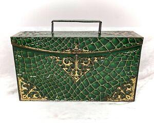 Satchel-Peek Frean Green Crocodile Skin Look Handbag-Vintage/Antique Biscuit Tin