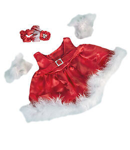 """Red Silky Christmas Dress w/Gloves Fits Most 8""""-10"""" Build-a-bear Buddies and Mak"""