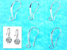 10PCS Make Lot Beads Jewelry Findings Silver Pinch Ring Hook Earrings Wave