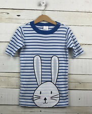 HANNA ANDERSSON Sz 130 - 8y s/s Pajama Top Blue Striped Bunny Rabbit Graphic