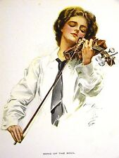Harrison Fisher GIRL PLAYING VIOLIN in WHITE SHIRT & TIE 1912 Antique Art Matted