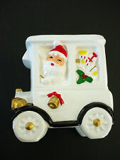 vTg CHRISTMAS 50's CERAMIC SANTA in AUTOMOBILE MODEL T A CAR PLANTER