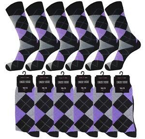 1-3-6-12 MEN'S SOCKS GROOMSMEN LAVENDER COTTON WEDDING DRESS SOCKS SIZE 10-13