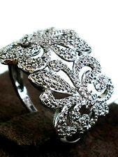 Ladies Sterling Solid Silver 925 Diamond Fleur de Lis Broad Band Ring Size K.