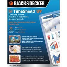 New Black & Decker Timeshield 5 Mil Letter Size Laminating Pouches 25pk