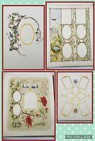 Antique England Victorian Handpainted Photo Scrapbook Album Botanical Paintings