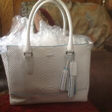 RARE COACH WHITE PYTHON EMBOSSED LEATHER ROBIN EGG BLUE/TEAL TRIM CANDACE TOTE