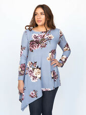 NWT Agnes & Dora Asymmetrical Tunic Baby Suede Cloud Blue Floral Top S