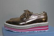 8.5 / 39 PRADA Gold Metallic Leather Wing Tip Lace up Oxford Platform Flat Shoes