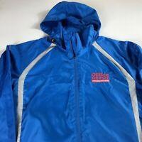 Office Depot Foundation Windbreaker Jacket Mens Medium Reflective Hooded Running