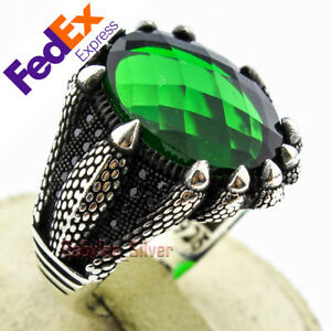 925 Sterling Silver Faceted Emerald Stone Turkish Handmade Men's Ring
