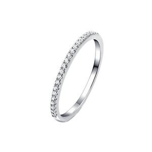 Sterling Silver Half Eternity 1mm Pave Set CZ Crystal Stacking Ring D - V