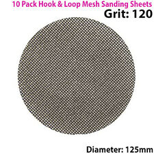 10x 120 Grit Silicon Carbide Mesh 125mm Round Sanding Discs –Hook & Loop Backing