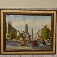 Vintage Oil Painting Berlin Germany Artist Siegfried Rochel German Street Scene