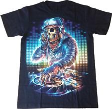 T-SHIRT TESCHIO DEEJAY MAGLIETTA COTONE 100% DJ SKULL FLUORESCENTE FOSFORISCENTE