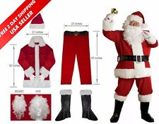 Santa Claus Regal Plush Adlut Suit Christmas Holiday Party Mens Costume Set NEW