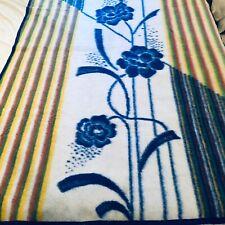 "Vintage floral  Blanket Acrylic Lintex International  56"" x 78""  blue twin spain"