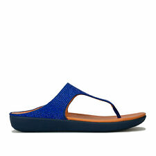 Womens Fitflop Banda Crystalled Toe Thong Sandals In Illusion Blue