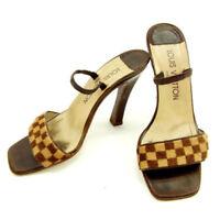 Louis Vuitton Flip Flops Damier Brown Woman Authentic Used Y5223
