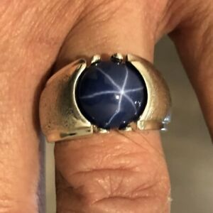 MJG STERLING SILVER CLASSIC MEN'S RING.12mm ROUND LAB BLUE STAR SAPPHIRE. SZ 10