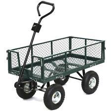 Heavy Duty Steel Utility Wagon Wheelbarrow Lawn Cart Yard Crate Garden Supplies