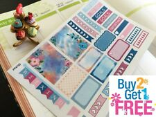 PP473D -- Pink Blue Floral Samples Planner Stickers for Erin Condren 28pcs