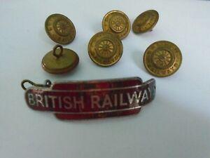 BRITISH RAILWAY CAP BADGE +6 BUTTONS