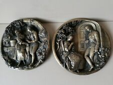 More details for pair of victorian gilt metal wall plaques relief cast 16cm 1848 lovers couples