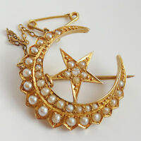 Antique Victorian 18ct Gold Diamond & Pearl set Crescent & Star Brooch c1895