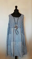 NEW Quirky PLUS SIZE LaGeNLooK gingham/spot/stripe PANELS ~Boho~ LINEN DRESS 48""