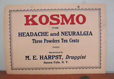 Antique Drug Store Medicine Pharmaceutical Sign KOSMO Seneca Falls NY