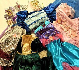 LOT 4-6x Disney PRINCESS DRESS-UP Halloween COSTUMES & BARBIE + Tiaras & Wands